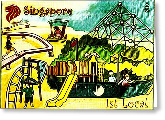 Amusement Park In Singapore 5 Greeting Card by Lanjee Chee