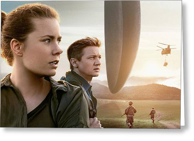 Amy Adams Jeremy Renner Arrival   Greeting Card