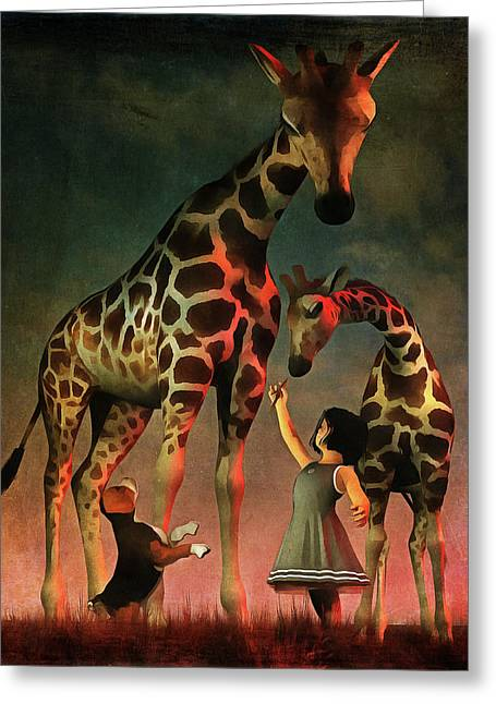 Amy And Buddy With The Giraffes Greeting Card