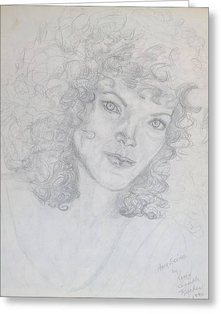 Roadway Drawings Greeting Cards - Amy Irving Greeting Card by Nancy Rucker