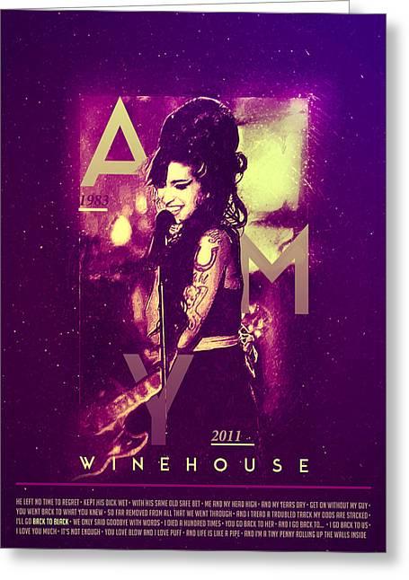 Amy Winehouse Back To Black Lyric Greeting Card
