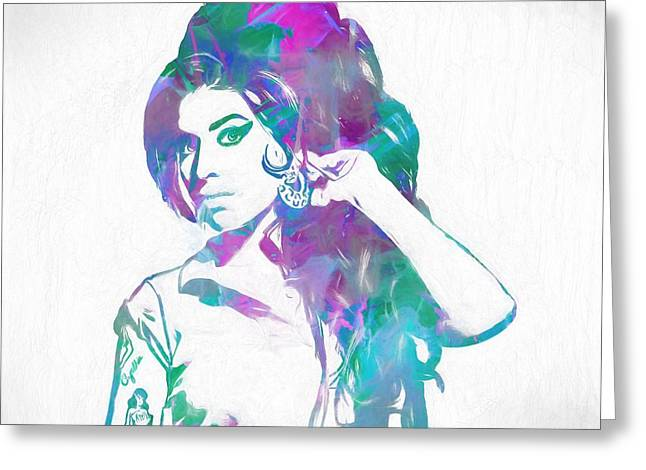Amy Winehouse Greeting Card by Dan Sproul