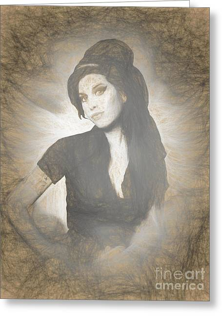 Amy Winehouse Greeting Card by Galambosi Tamas