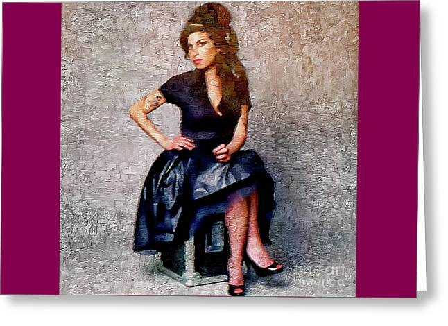 Amy Winehouse - Jazz Singer Greeting Card by Ian Gledhill