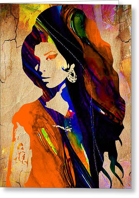 Amy Winehouse Greeting Card by Marvin Blaine