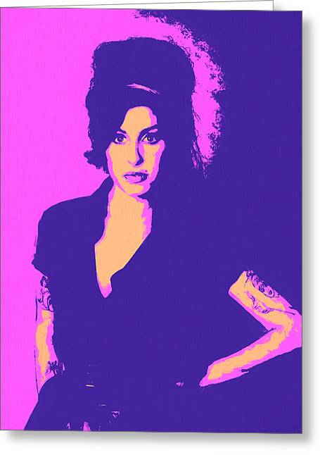 Amy Winehouse Pop Art Greeting Card by Dan Sproul