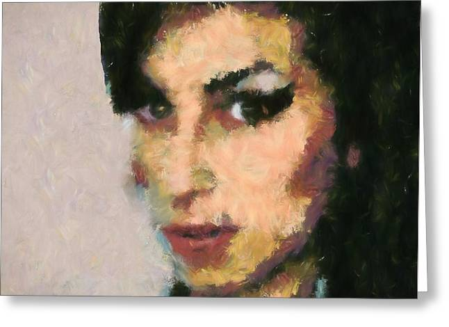 Amy Winehouse Portrait Greeting Card by Dan Sproul
