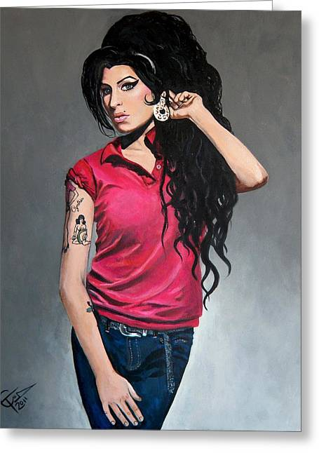 Amy Winehouse Greeting Cards - Amy Winehouse Red Shirt Greeting Card by Tom Carlton