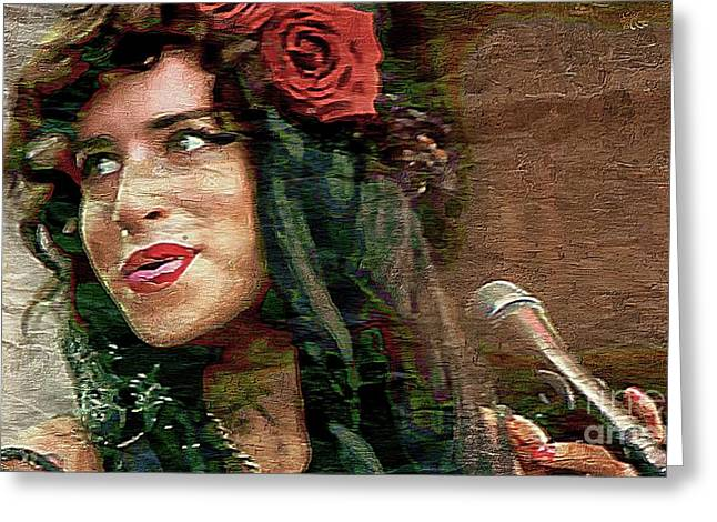 Amy Winehouse - Singer Greeting Card by Ian Gledhill