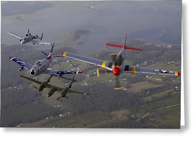 An A-10 Thunderbolt, F-86 Sabre, P-38 Greeting Card by Stocktrek Images