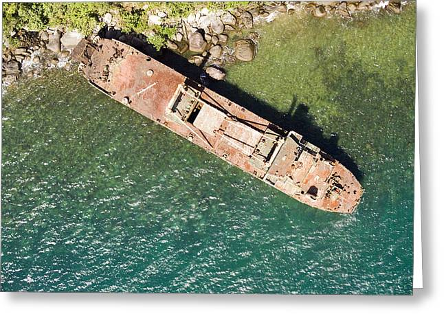 An Abandoned Cargo Ship On Nosy Mangabe Greeting Card by Michael Fay