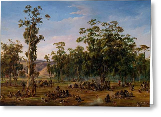 An Aboriginal Encampment, Near The Adelaide Foothills Greeting Card