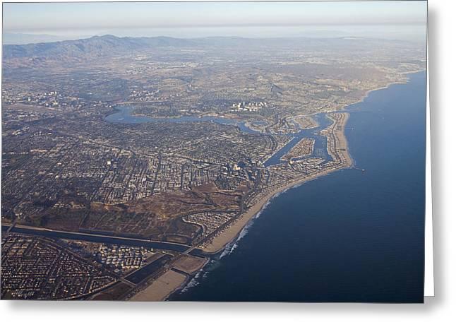 An Aerial Of Newport Beach Harbor Greeting Card by Rich Reid