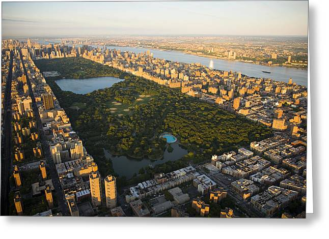 Hotels And Resorts Greeting Cards - An Aerial View Of Central Park Greeting Card by Michael S. Yamashita
