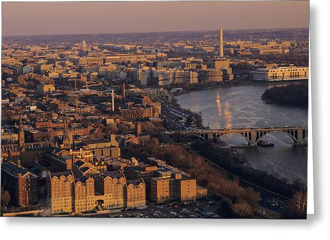 An Aerial View Of D.c. And The Potomac Greeting Card by Kenneth Garrett
