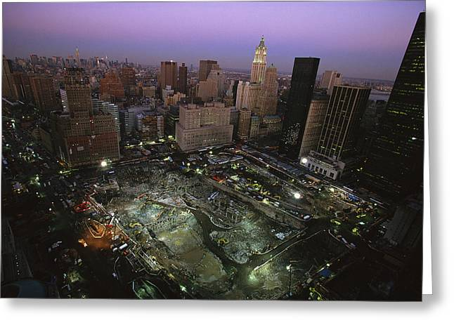 An Aerial View Of Ground Zero Greeting Card by Ira Block