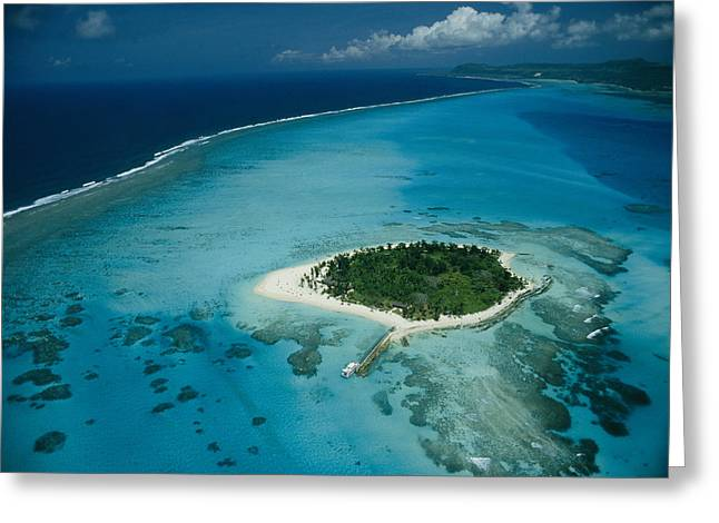 An Aerial View Of Saipan Island Greeting Card by Paul Chesley