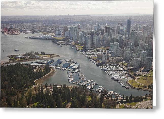 Stanley Park Greeting Cards - An Aerial View Of The City Of Vancouver Greeting Card by Taylor S. Kennedy