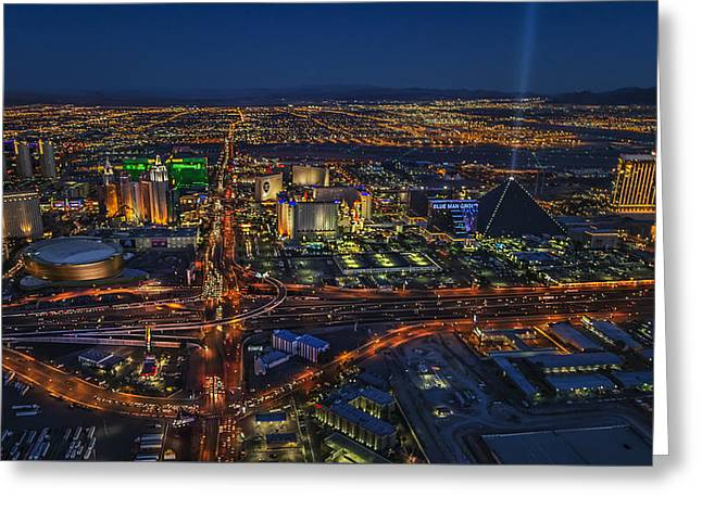 An Aerial View Of The Las Vegas Strip Greeting Card