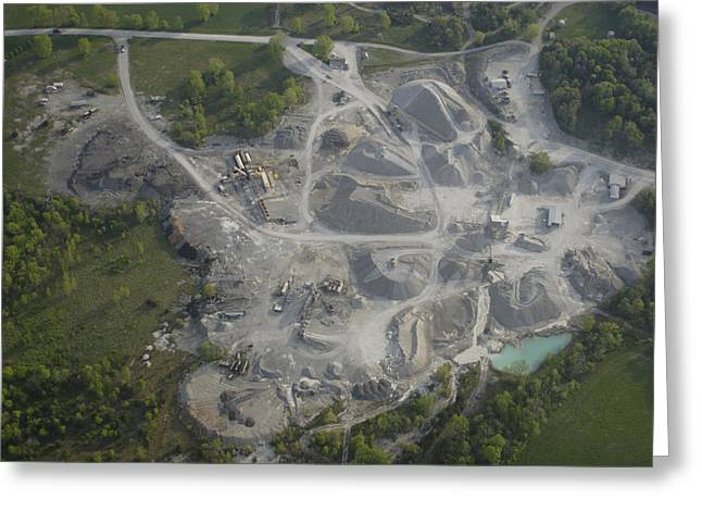 An Aerial View Shows A Limestone Quarry Greeting Card