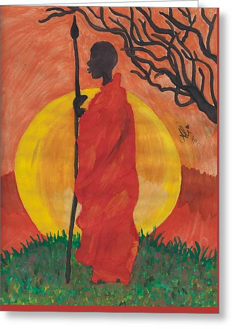 An African Man Greeting Card by Bobby Dar