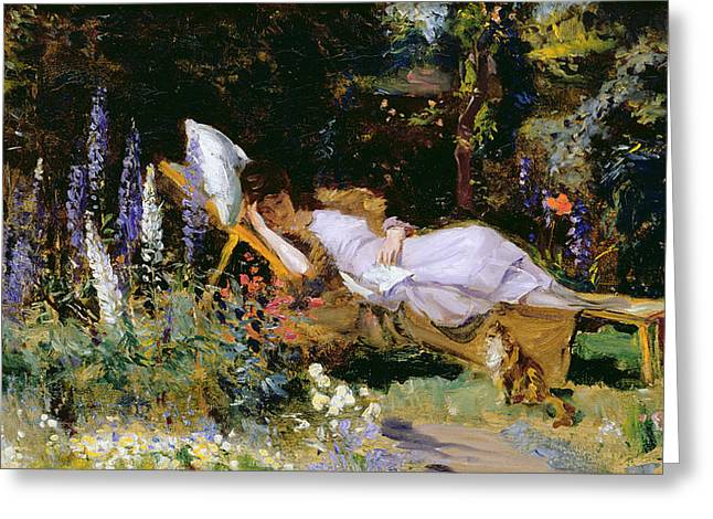 A Summer Evening Greeting Cards - An Afternoon Nap Greeting Card by Harry Mitten Wilson