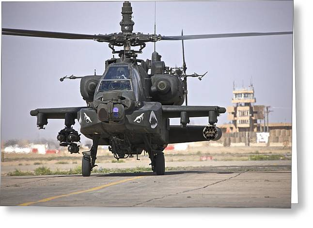 An Ah-64 Apache Helicopter Returns Greeting Card by Terry Moore