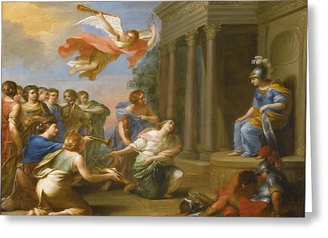 An Allegory Of The Victory Of Peace Over War. Peace And Justice Presenting The Nine Muses To Minerva Greeting Card