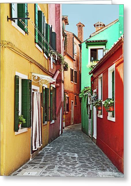 An Alley In Burano Greeting Card