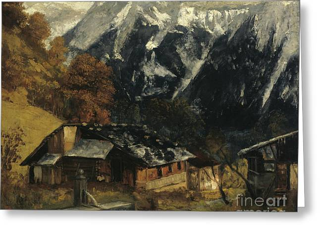An Alpine Scene Greeting Card by Gustave Courbet