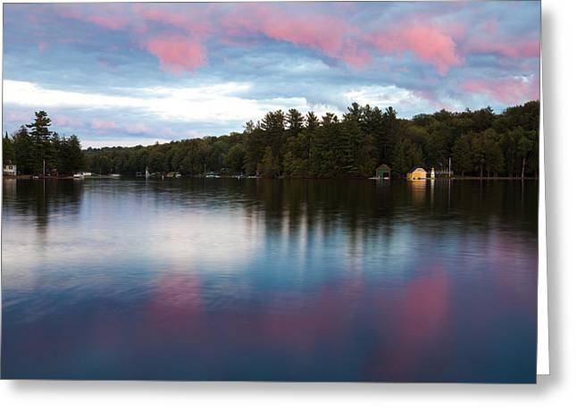 An Amazing Sunset On Old Forge Pond Greeting Card by David Patterson