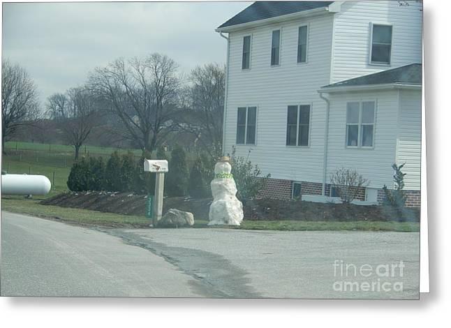An Amish Snowman Greeting Card