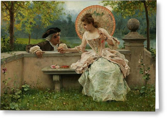 An Amorous Conversation In The Park Greeting Card by Federico Andreotti