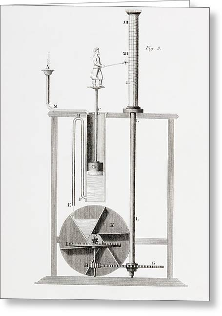An Ancient Clepsydra Or Water Clock Greeting Card by Vintage Design Pics