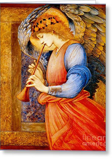 An Angel Playing A Flageolet Greeting Card by Celestial Images