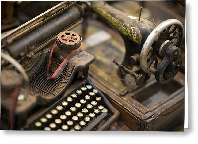 An Antique Typewriter And Sewing Greeting Card