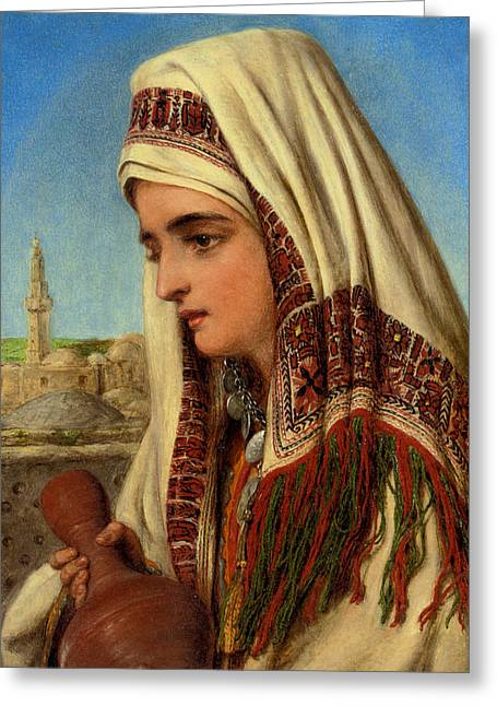 An Arab Woman With A Head Shawl Carrying A Water Greeting Card by Celestial Images