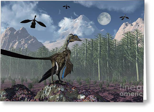 An Archaeopteryx Standing At The Edge Greeting Card by Mark Stevenson