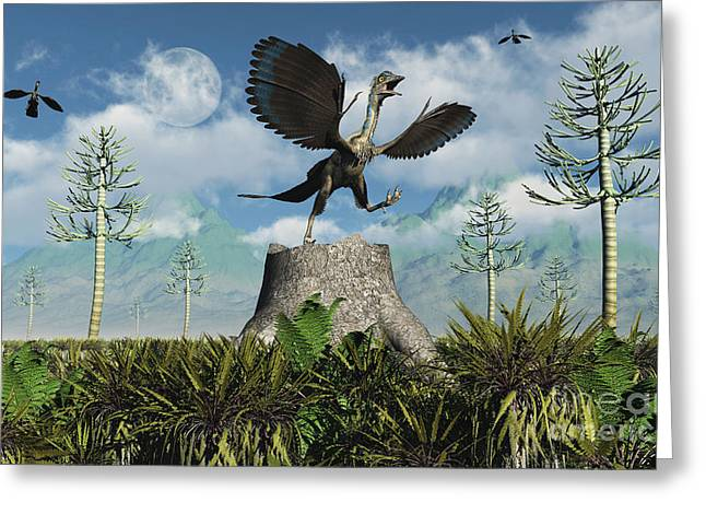 An Archaeopteryx Takes Flight From Atop Greeting Card by Mark Stevenson