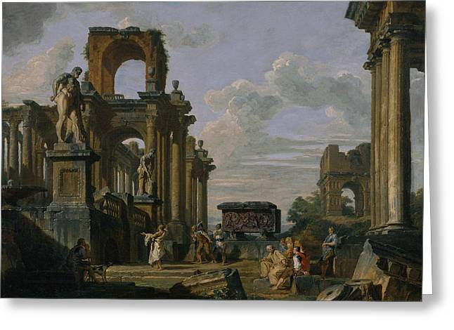 An Architectural Capriccio Of The Roman Forum With Philosophers And Soldiers Greeting Card