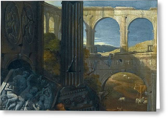 An Architectural Capriccio With Ancient Ruins Greeting Card by Jean Lemaire