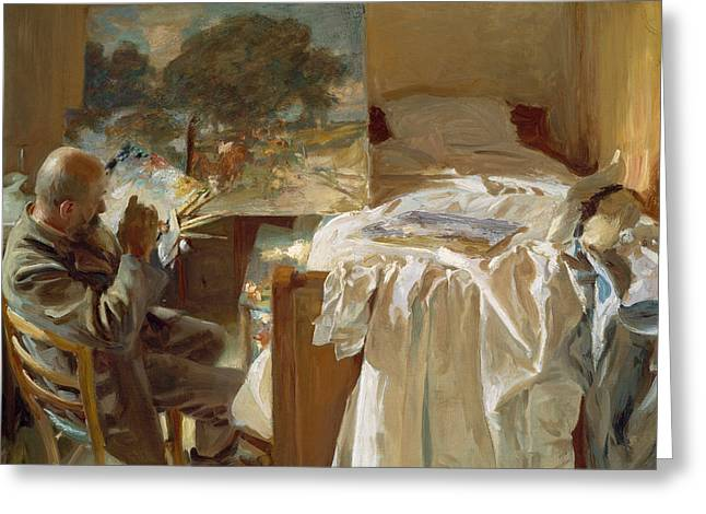 An Artist In His Studio Greeting Card by John Singer Sargent