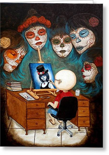Greeting Card featuring the painting An Artist Inspired by Al  Molina