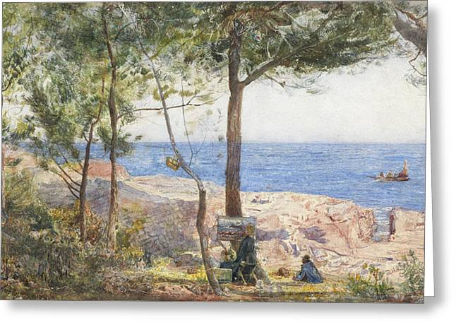 An Artist Painting By The Sea Greeting Card