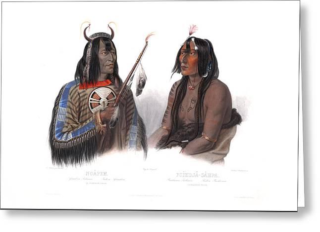 An Assiniboin Indian And A Yanktonan Indian Greeting Card