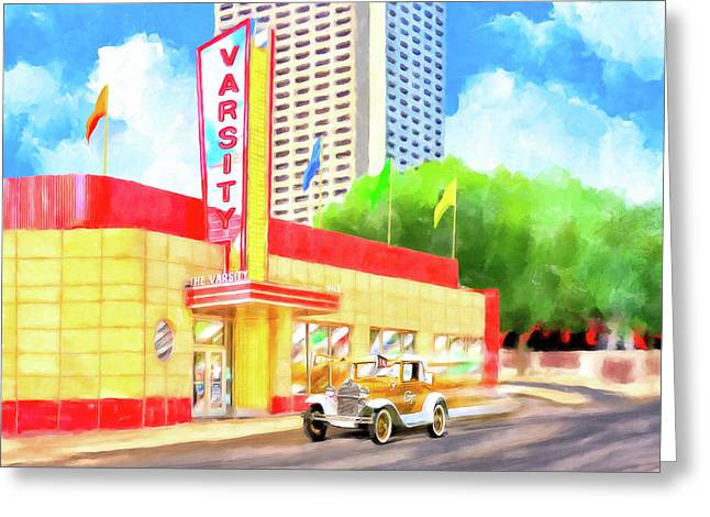 Greeting Card featuring the mixed media An Atlanta Original - The Varsity by Mark Tisdale