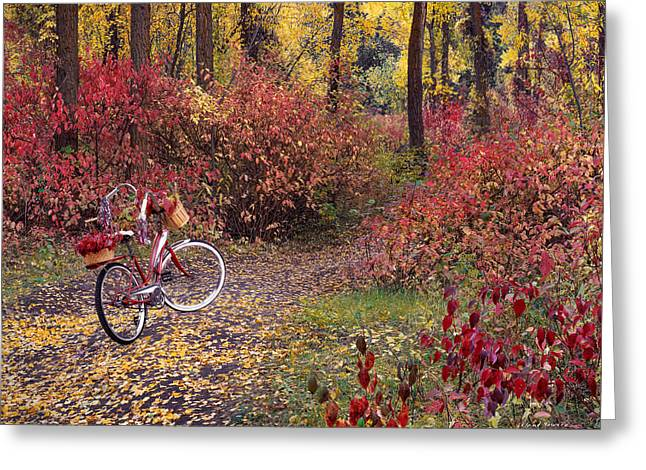 An Autumn Bike Trek Greeting Card by Leland D Howard