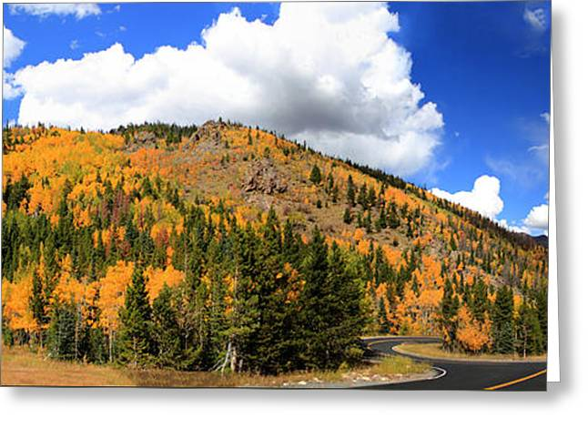 An Autumn Drive - Panorama Greeting Card