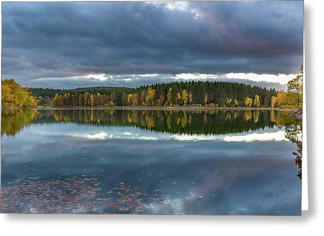 An Autumn Evening At The Lake Greeting Card by Andreas Levi