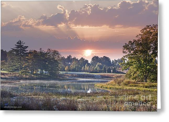 Early Morning Sun Greets Autumn Lansdscape Greeting Card